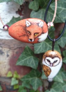 Fox and Owl Pyrography Pendants