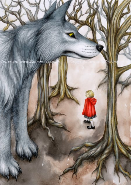 Illustration of Little Red Riding Hood, watched by a gigantic wolf
