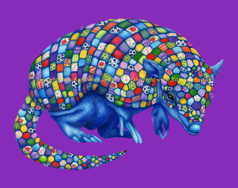 Illustration of a multicoloured armadillo with mosaic armour