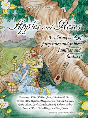 'Apples and Roses' - a fairy tale themed colouring book