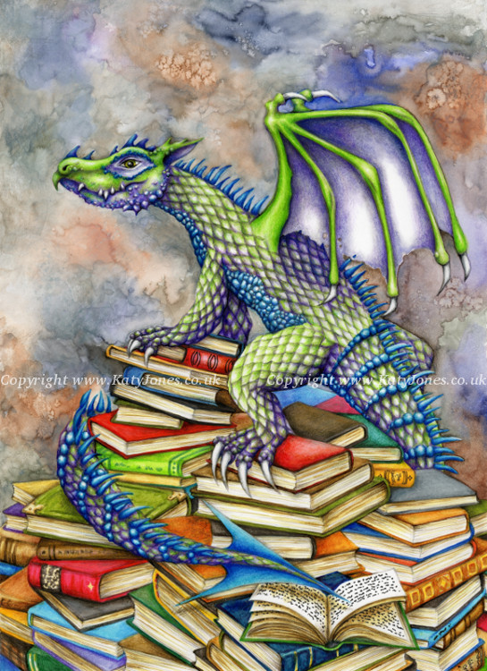 A bookwyrm (a bibliophiliac dragon) guarding its hoard of books