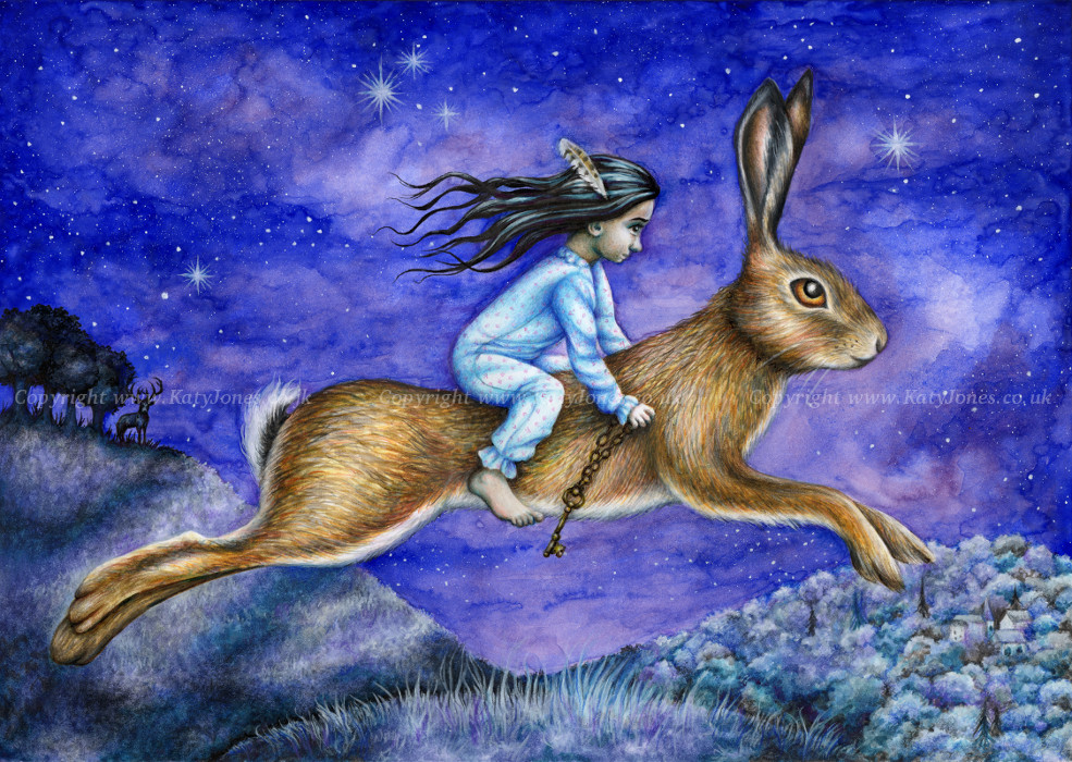 little girl riding hare through a starlit landscape