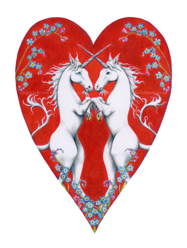 Two unicorns rampant in a red heart