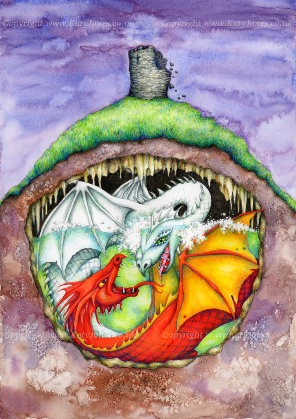 Two dragons fighting underground, beneath a crumbling castle tower