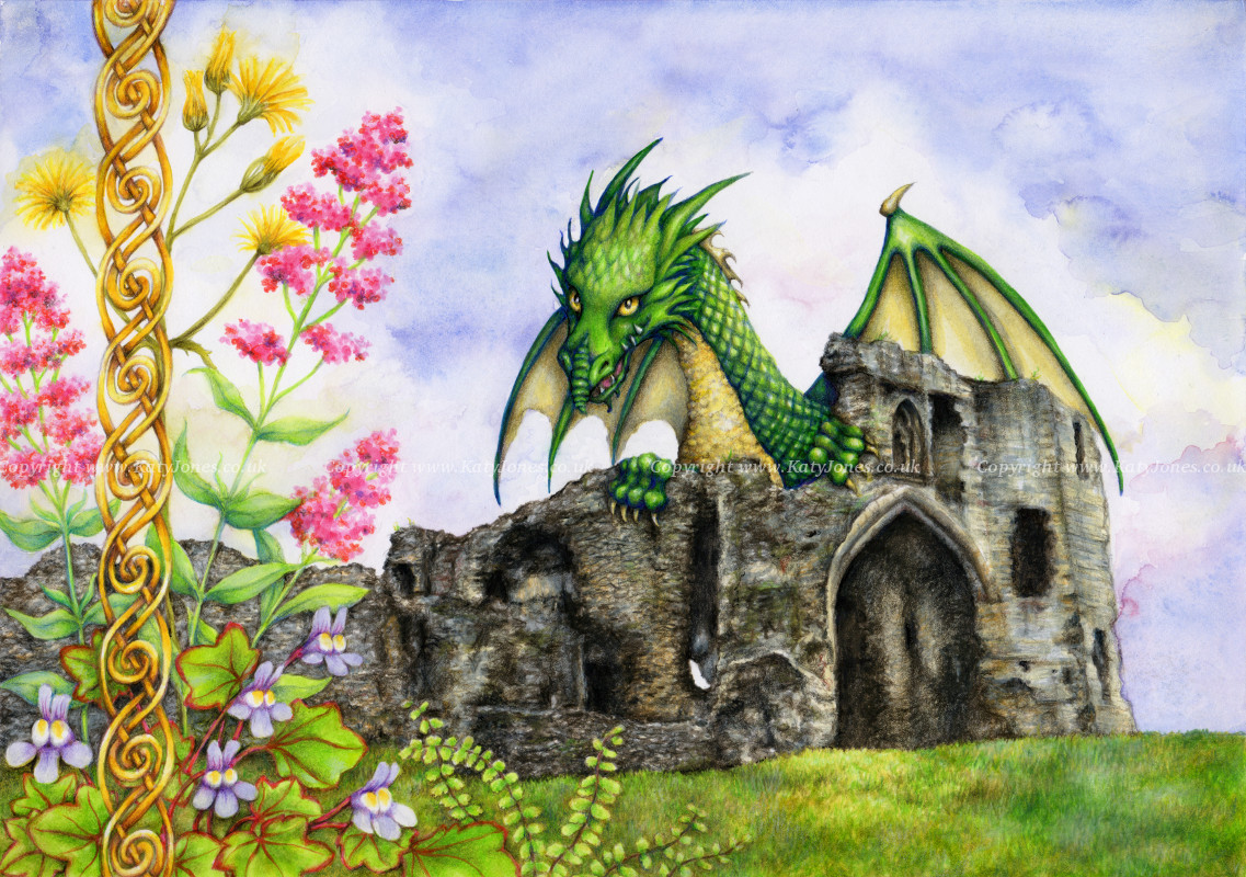 Image of Denbigh Castle and its legendary dragon