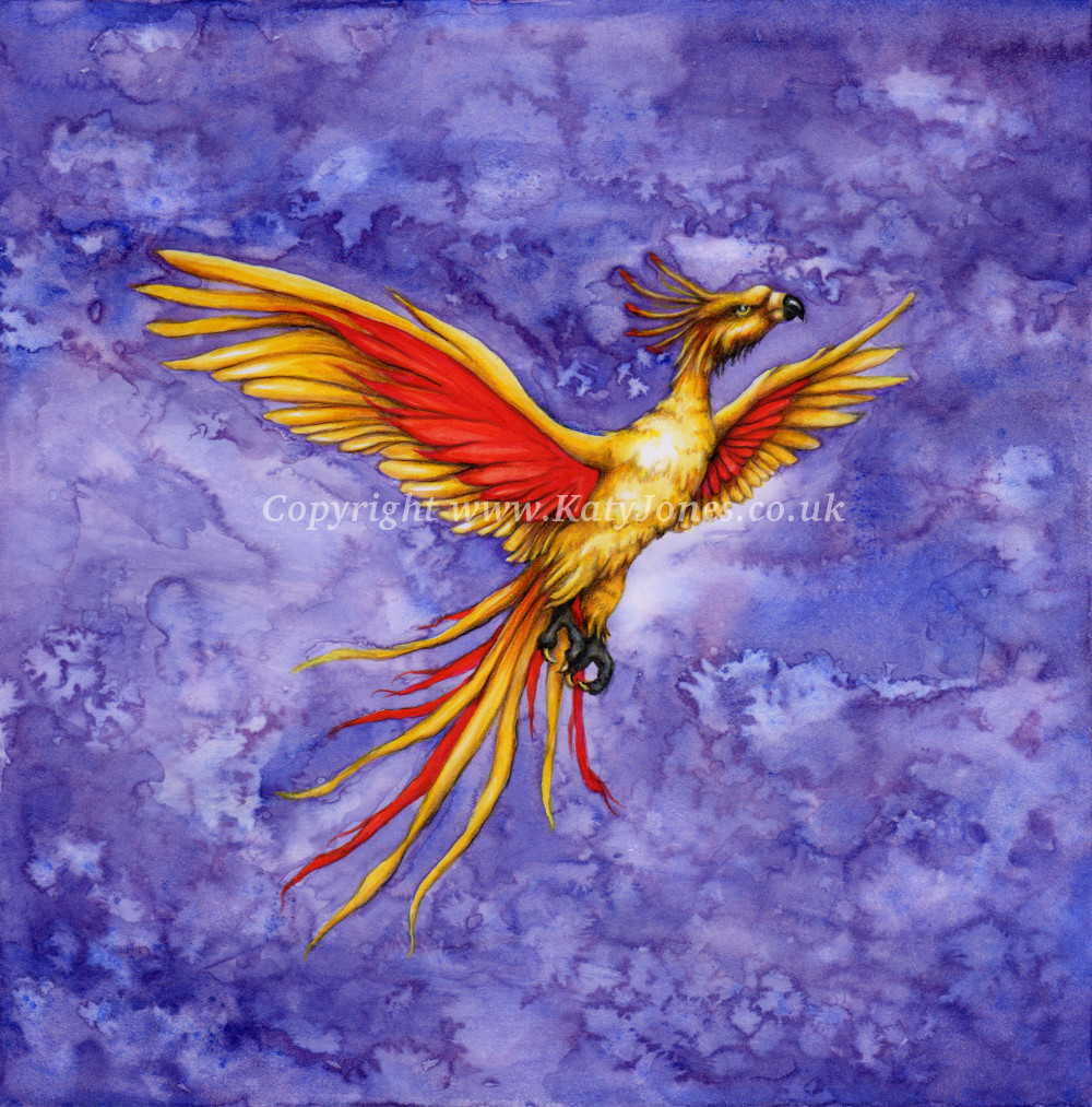Flying phoenix at night illustration