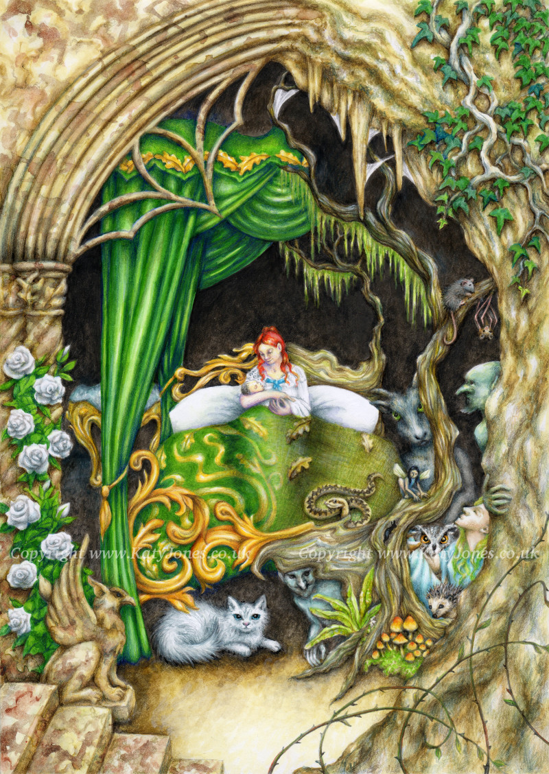 Illustration of a scene from a Welsh story, sometimes known as 'Fairy ointment' or 'Eilian of Garth Dorwen'