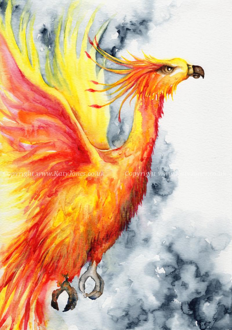 Watercolour phoenix painting